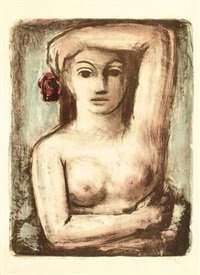 femme en buste, main à la tête by max kahn