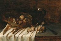 stilleben mit einem korb voller herrenpilze (steinpilze) by f. bündsdorf