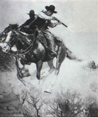 story illustration: two horsemen firing behind themselves by percy v.e. ivory
