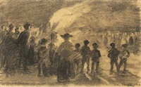 sketch for sankt hans blus paa skagen strand (bonfire at skagen beach, st. john's eve) by peder severin krøyer