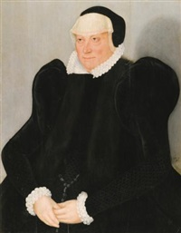 portrait of a lady, half-length, in a black dress with a white lace collar and cuffs by lucas cranach the younger