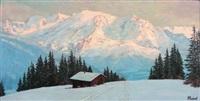 le mont blanc vu du plateau d'assy, lumière rose by lucien quenard