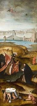 saint antoine ramené par ses compagnons (+ la tentation de saint antoine; 2 works after tentation de saint antoine by jérôme bosch) by hieronymus bosch