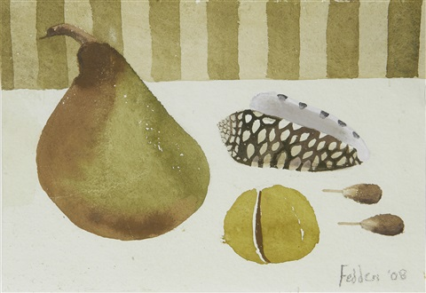 still life with fruit and shell by mary fedden