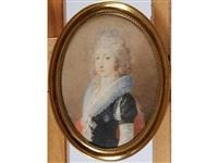 portrait de madame royale en robe de soie bleu-marine et large col de dentelle by josef kreutzinger