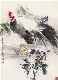 公鸡 镜框 纸本 by huang huanwu