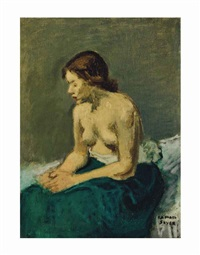 seated nude draped in a green cloth by raphael soyer