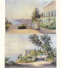 vue d'une villa à pausilippe sur la côte amalfitaine (+ another; pair) by salomon corrodi