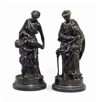 femme et amour groups of emblematic of water and fire (pair) by louis sauvageau