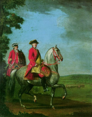 equestrian portrait of george iii with a review of troops beyond by david morier