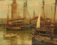 le port de pêche de nieuport by alfred théodore joseph bastien