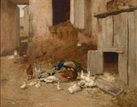 scène de basse cour avec paon et canard by philibert-leon couturier