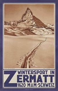 wintersport in zermatt by jean gaberell