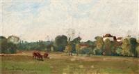 landskap med kor, grez by oscar törnå