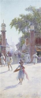 an eastern street market by alfred edward emslie