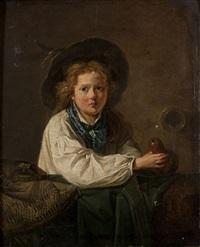 jeune pèlerin remplissant sa gourde by marc antoine bilcoq