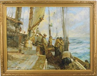 fishermen on deck by macivor reddie
