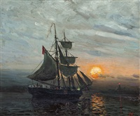 aften - solnedgang by frithjof smith-hald