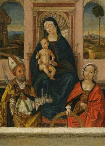 the madonna and child enthroned with saints petronius and catherine of alexandria by bernardino di bosio zaganelli