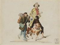 deux artistes bohémiens se promenant avec un chien (+ une femme avec un manchon noir et trois chiens; 2 works) by carl johan lindström