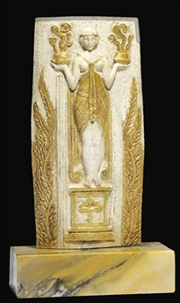 a carved gilt and ivory relief by serge yourievitch
