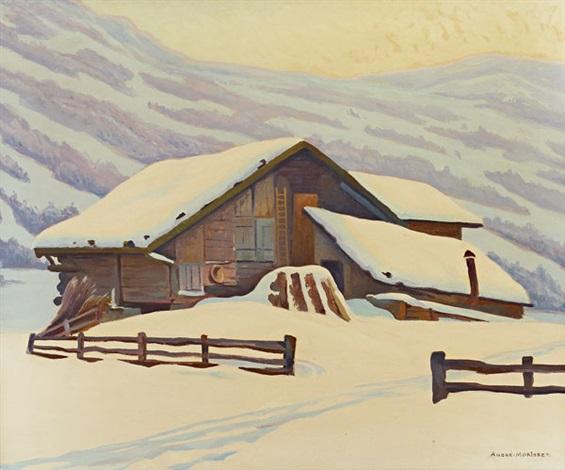 chalet en hiver by andré morisset