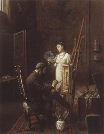 le peintre et son modèle dans latelier by edmond georges grandjean
