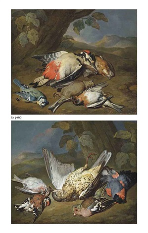 a dead ptarmigan a bullfinch a greenfinch and other birds in a wooded clearing a dead great spotted woodpecker a bluetit a bearded tit and other birds in a wooded clearing 2 works by william gowe ferguson