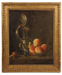 still life with pewter jug & peaches by jean baptiste siméon chardin