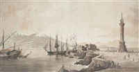 shipping in the bay of naples with the old molo, vesuvius beyond by william marlow