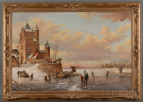 figures skating on a frozen pond by pieter cornelis steenhouwer