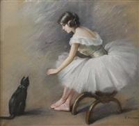 jeune ballerine et le chat noir by fanny laurent fleury