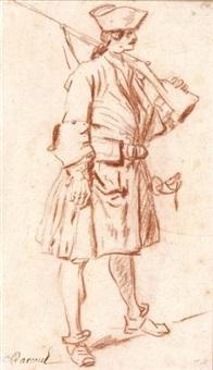 soldat en pied (preparatory study for mehemet effendi, ambassadeur turc) by charles parrocel