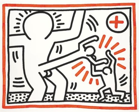 three lithographs untitled by keith haring