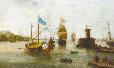 shipping approaching a harbor in a calm villages on the horizon by jan peeters the elder