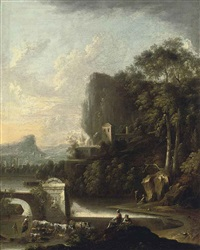 a wooded river landscape with drovers beside classical ruins, a village beyond by claude louis châtelet