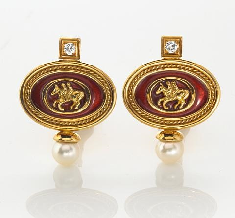 a pair of earclips by elizabeth gage