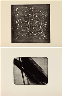 ensemble de deux estampes:, l, 1976 by hans hartung