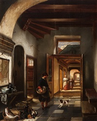 interior view in a 17th century house by hubertus van hove