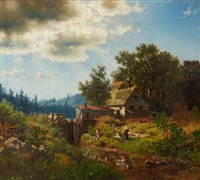 landscape with a mill and anglers by hermann herzog