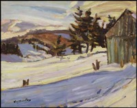 winter scene (recto); winter landscape (verso) by ralph wallace burton