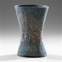 blue lava pinched vase by lucie rie