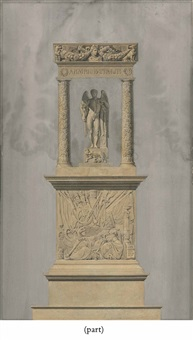 a monument with napoleon as a winged genius holding a victory statuette under an arch (2 works) by charles percier