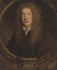 portrait of the poet and dramatist john dryden in a black coat and white shirt with gold fastenings by john greenhill