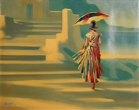 untitled (woman ascending stairs with umbrella) by bassari