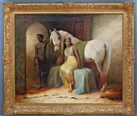 arabian horse with groom and seated princess by henry edward detmold