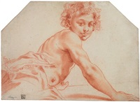 a seated male youth, his torso bare by pietro faccini