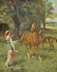 elégante jument avec son poulain by gilbert scott wright