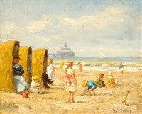 children playing on the beach at scheveningen by louis soonius