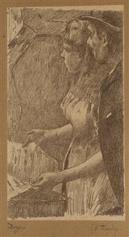 l'attente de la chanteuse (from quinze lithographies) by edgar degas